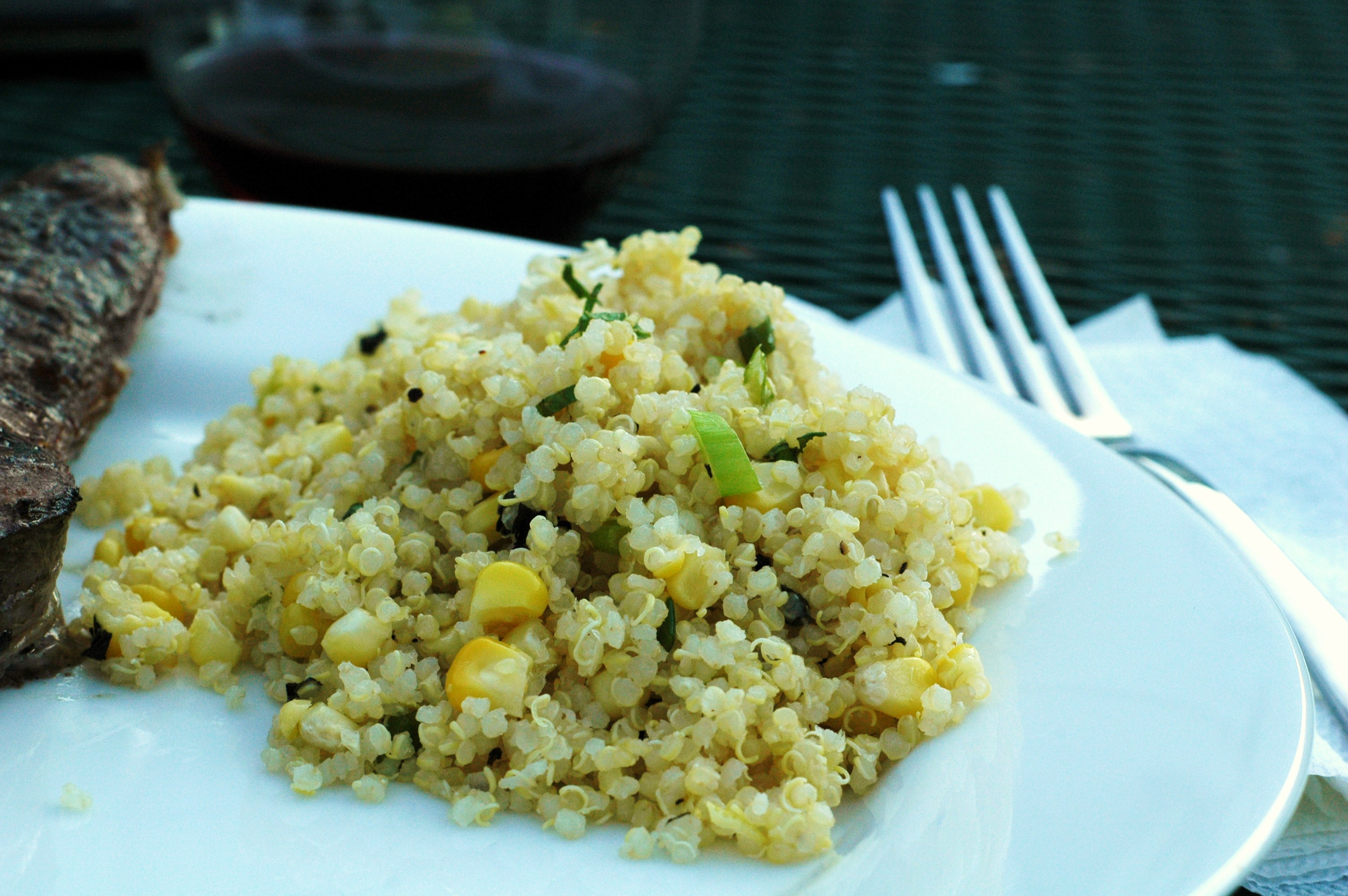 Quinoa with Corn, Scallions, and Mint - but i'm hungry