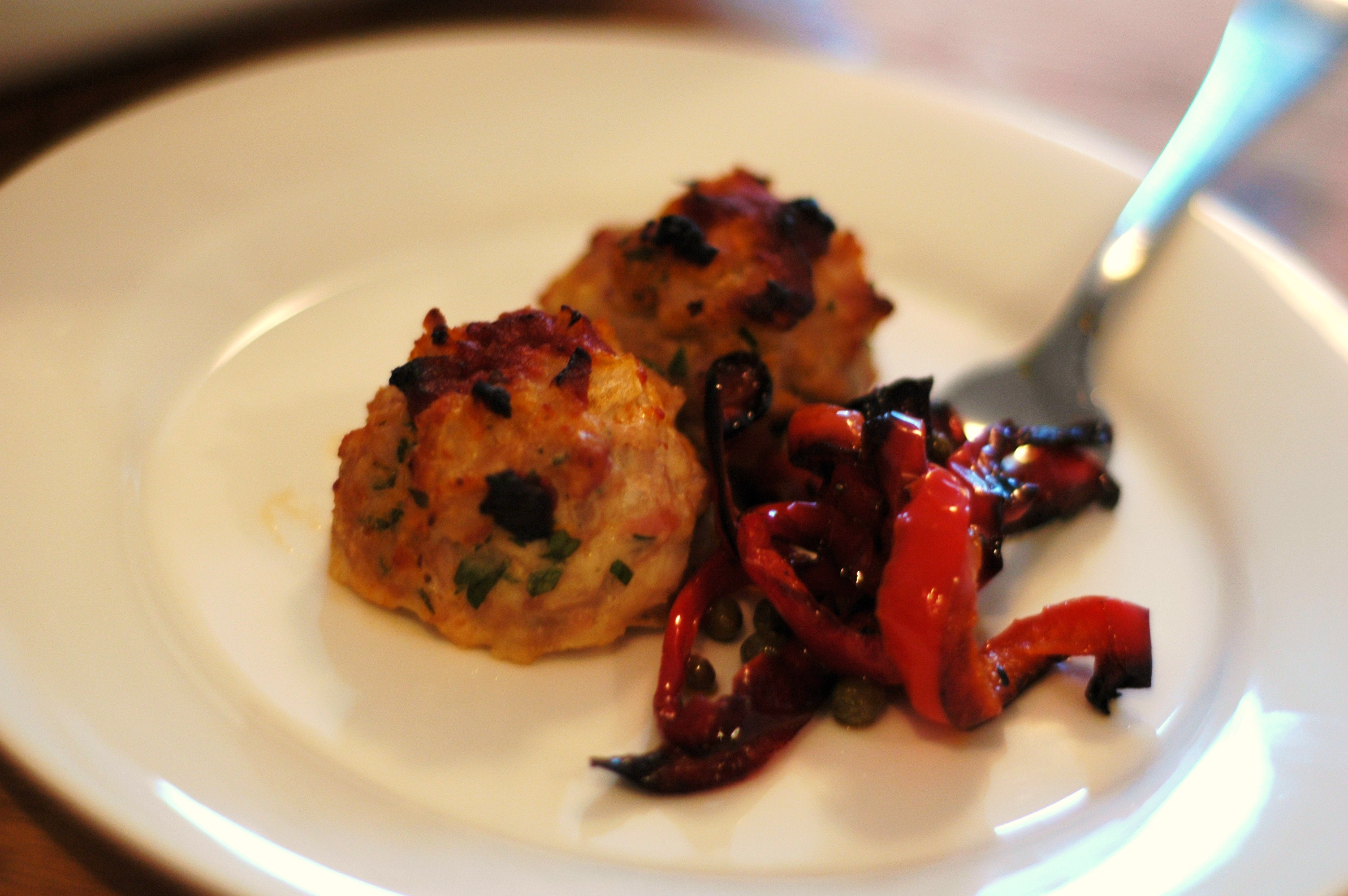 Baked Chicken Meatballs with Peperonata - but i'm hungry