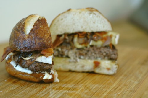 Brie, Bacon, and Red Onion Burgers
