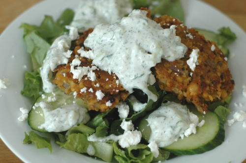 Falafel Salad with Cucumber Dill Dressing