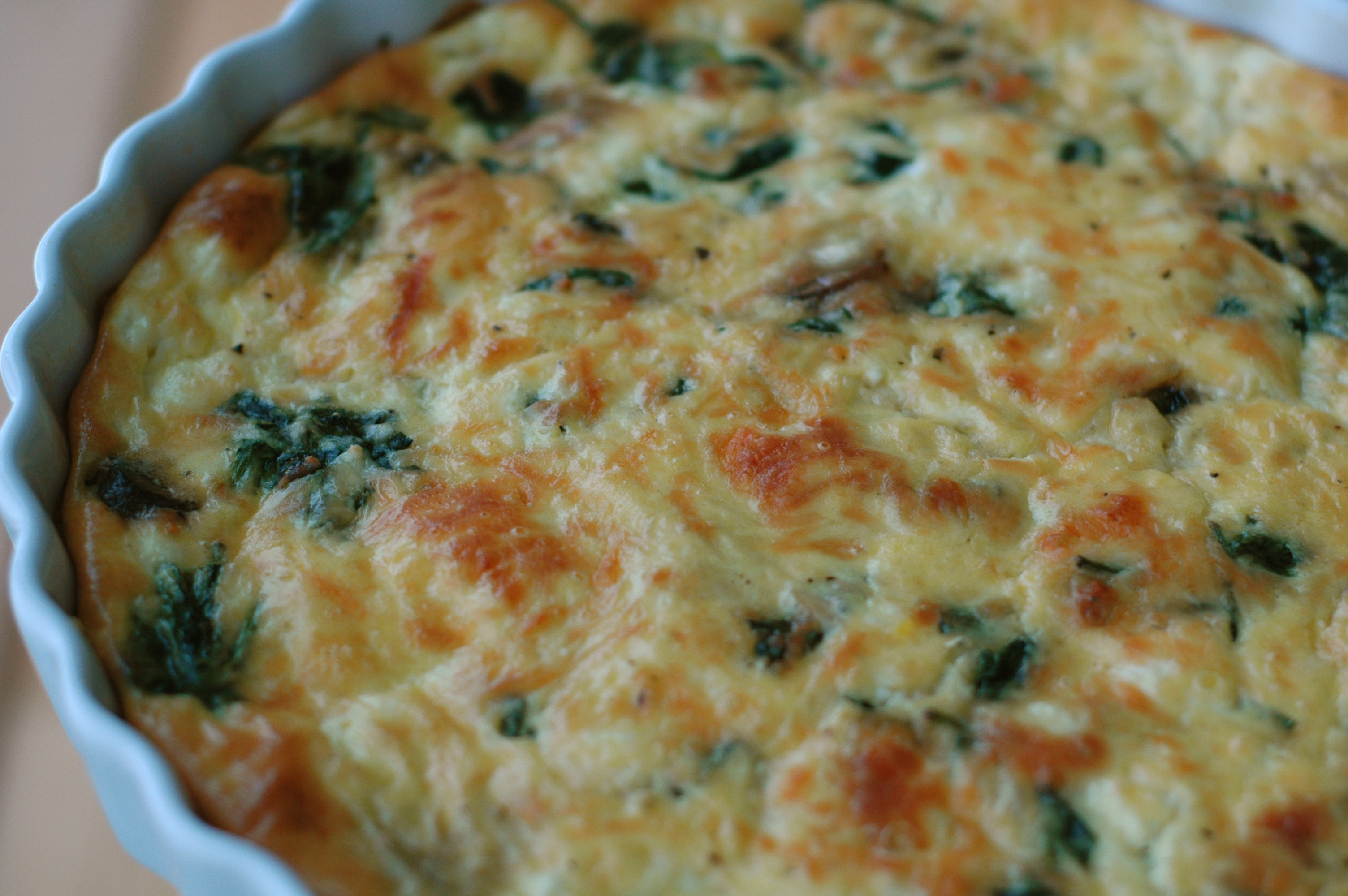 Spinach, Mushroom, and Feta Crustless Quiche - but i'm hungry