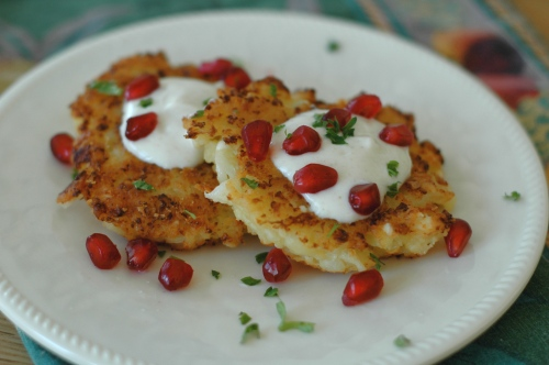 Cauliflower-Feta Fritters with Cumin Yogurt and Pomegranate