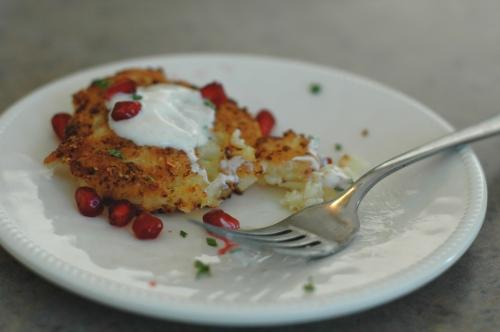 Cauliflower-Feta Fritters with Cumin Yogurt and Pomegranate